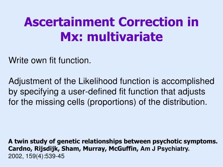 Ascertainment Correction in Mx: multivariate