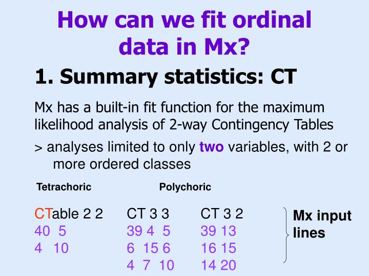 How can we fit ordinal data in Mx?