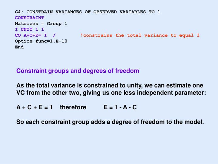 G4: CONSTRAIN VARIANCES OF OBSERVED VARIABLES TO 1