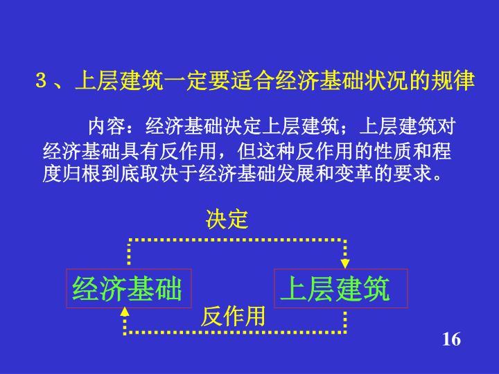 3、上层建筑一定要适合经济基础状况的规律