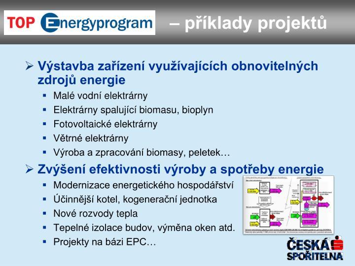 Výstavba zařízení využívajících obnovitelných zdrojů energie