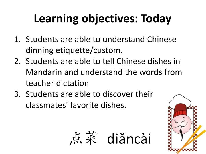 Learning objectives: Today