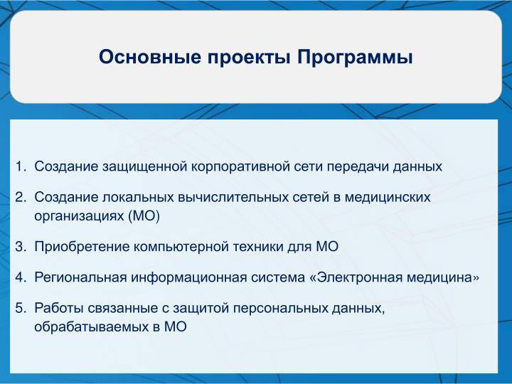 Основные проекты Программы