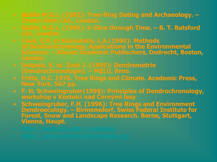Baillie M.G.L. (1982): Tree-Ring Dating and Archaeology. – Croom Helm Ltd., London.