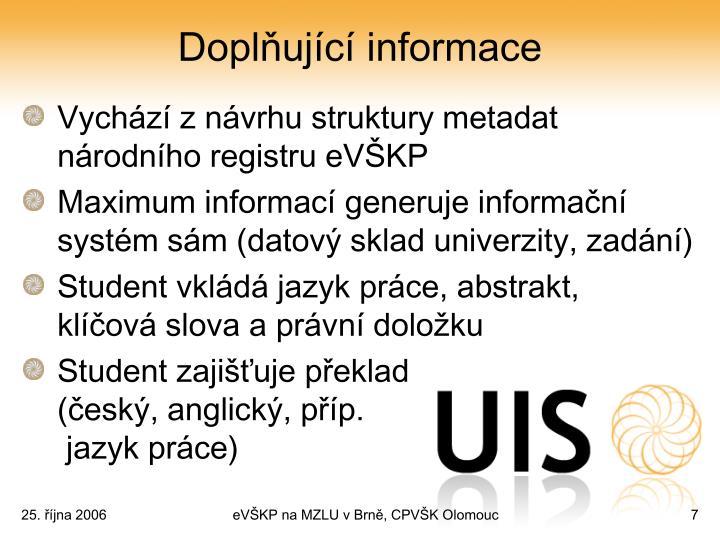 Doplňující informace