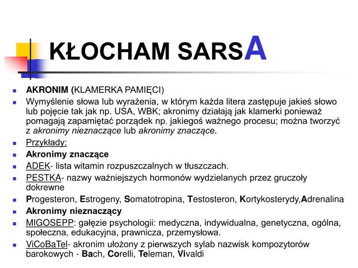 KŁOCHAM SARS