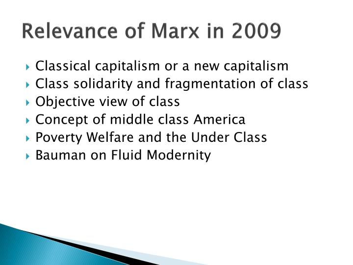 Relevance of Marx in 2009