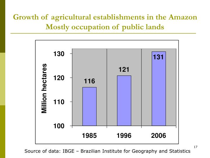 Growth of agricultural establishments in the Amazon