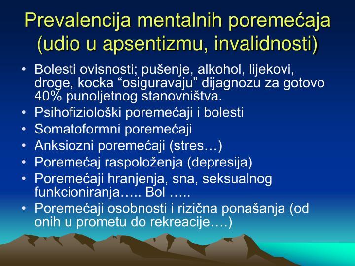 Prevalencija mentalnih poremećaja (udio u apsentizmu, invalidnosti)