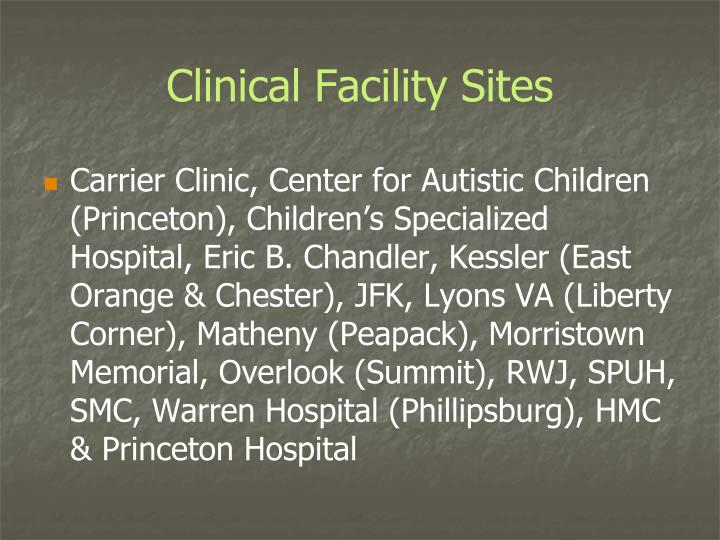 Clinical Facility Sites