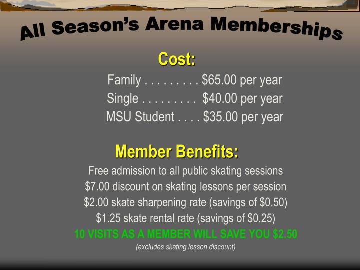 All Season's Arena Memberships
