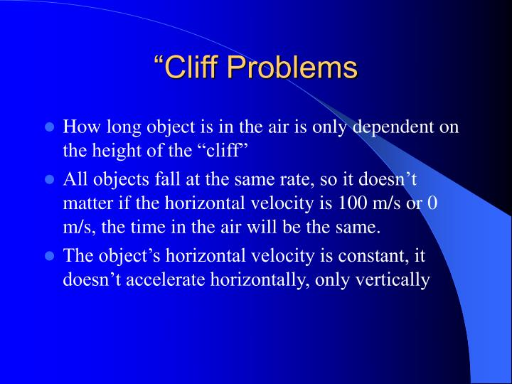"""Cliff Problems"