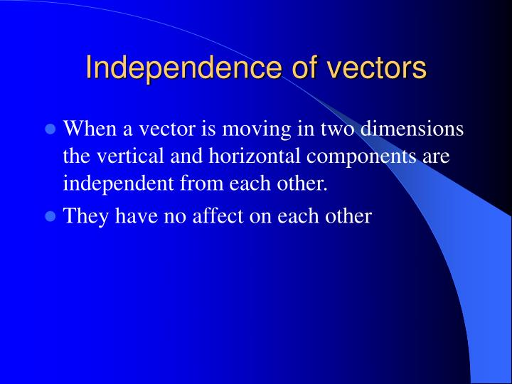 Independence of vectors