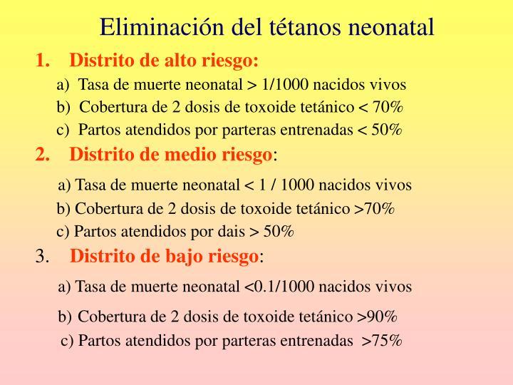 Eliminación del tétanos neonatal