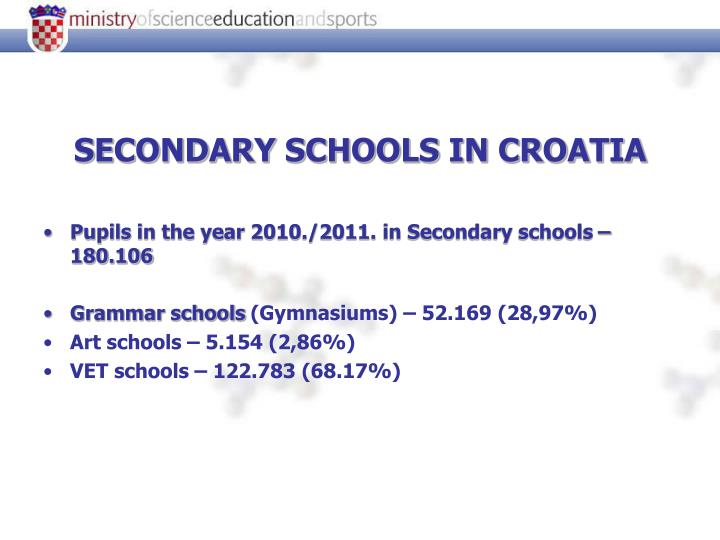 SECONDARY SCHOOLS IN CROATIA
