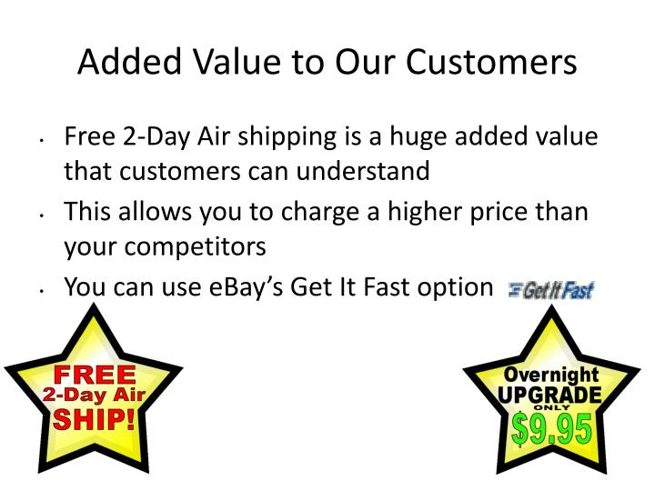 Added Value to Our Customers