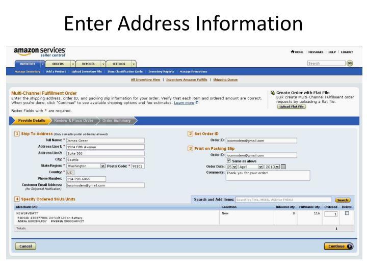 Enter Address Information