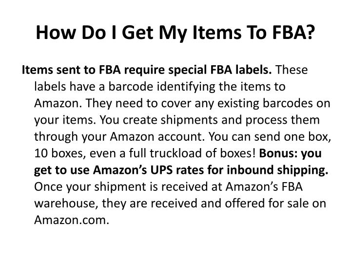 How Do I Get My Items To FBA?