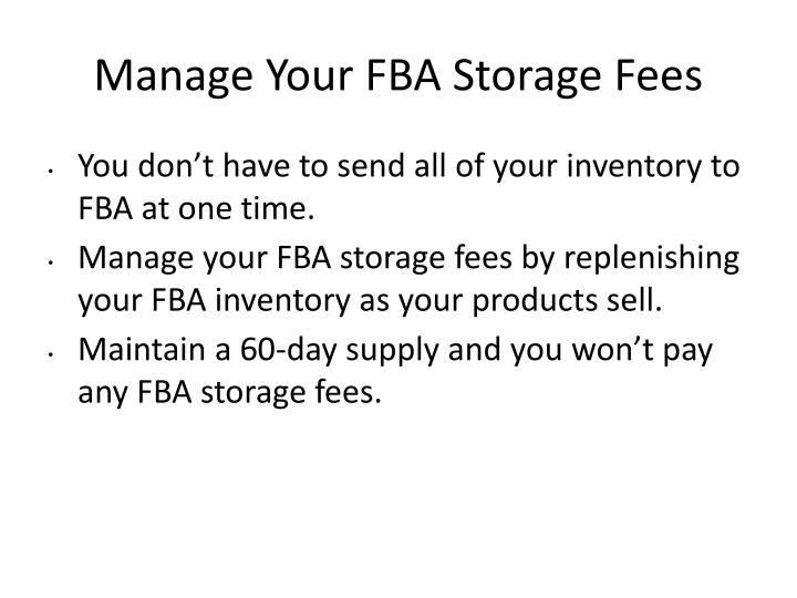 Manage Your FBA Storage Fees