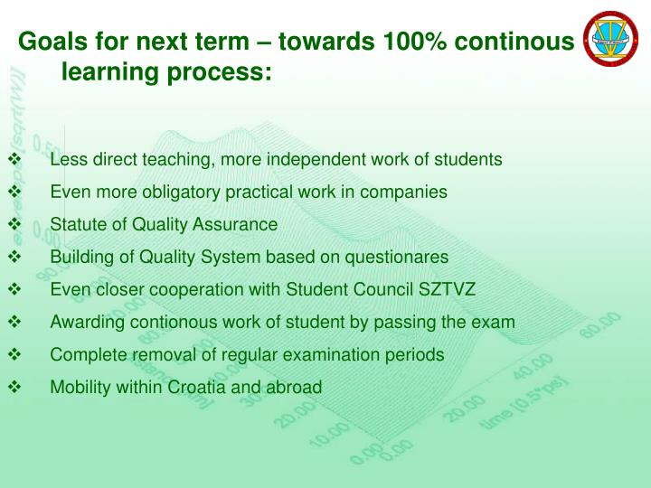Goals for next term – towards 100% continous learning process: