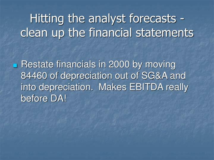 Hitting the analyst forecasts -