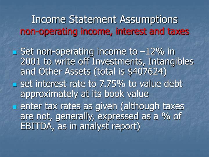 Income Statement Assumptions