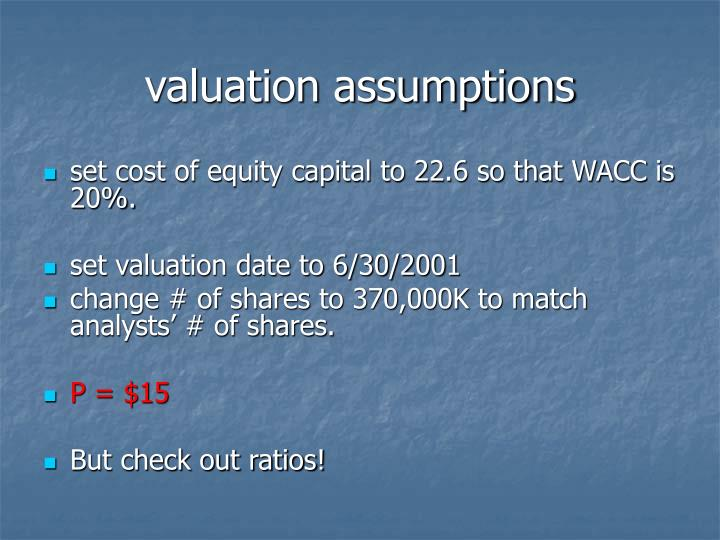 valuation assumptions