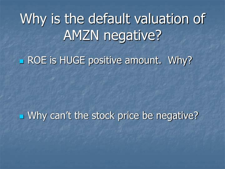 Why is the default valuation of AMZN negative?