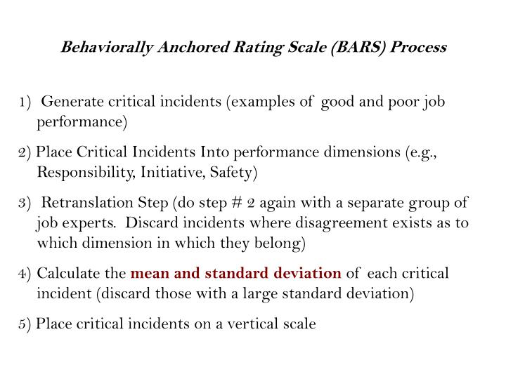 Behaviorally Anchored Rating Scale (BARS) Process