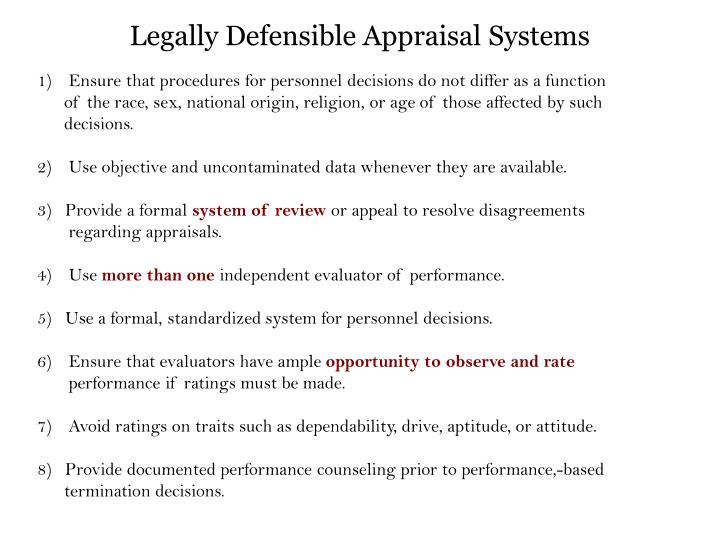 Legally Defensible Appraisal Systems
