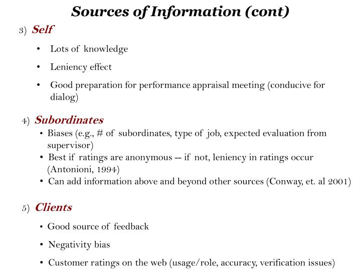 Sources of Information (cont)