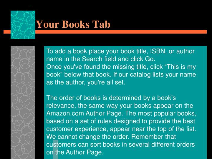 Your Books Tab