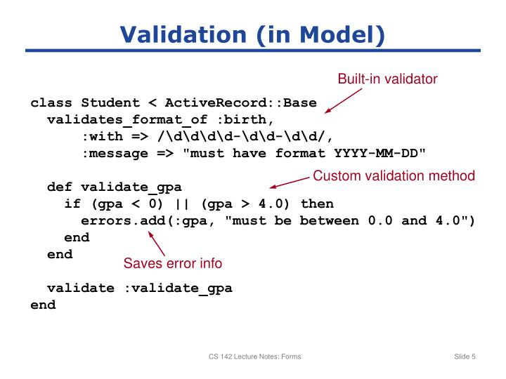 Validation (in Model)