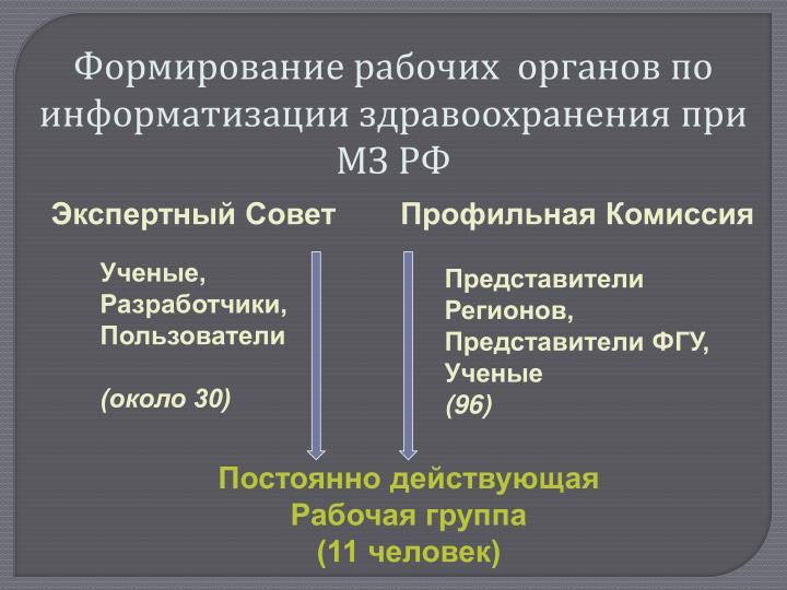 Формирование рабочих  органов по информатизации здравоохранения при МЗ РФ