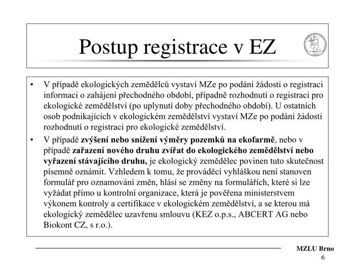 Postup registrace v EZ