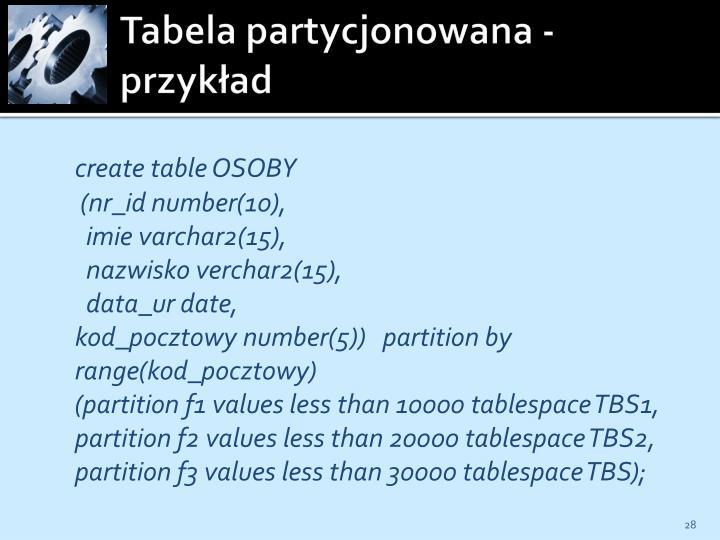 Tabela partycjonowana - przykład