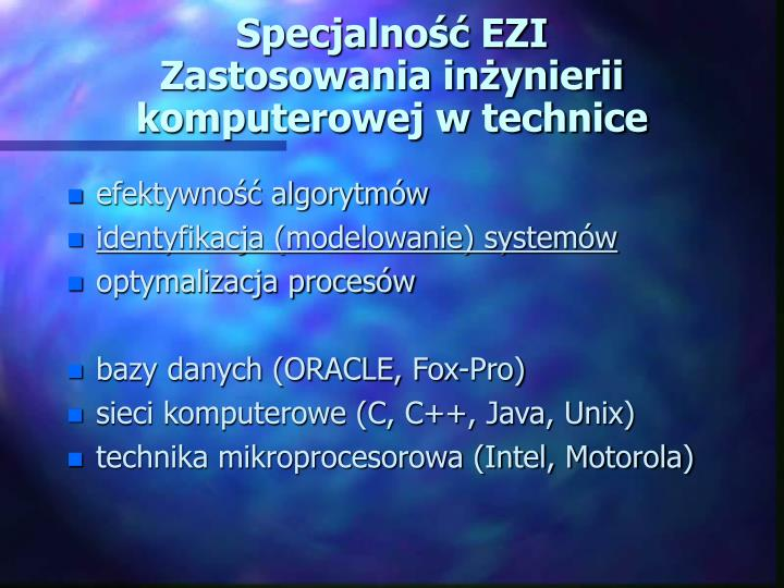 Specjalność EZI