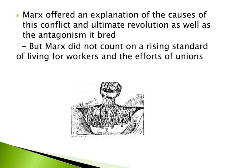 Marx offered an explanation of the causes of this conflict and ultimate revolution as well as the antagonism it bred