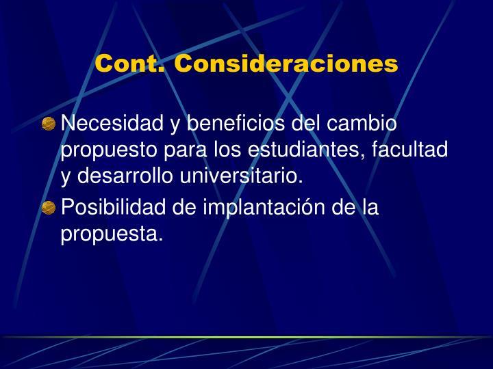 Cont. Consideraciones