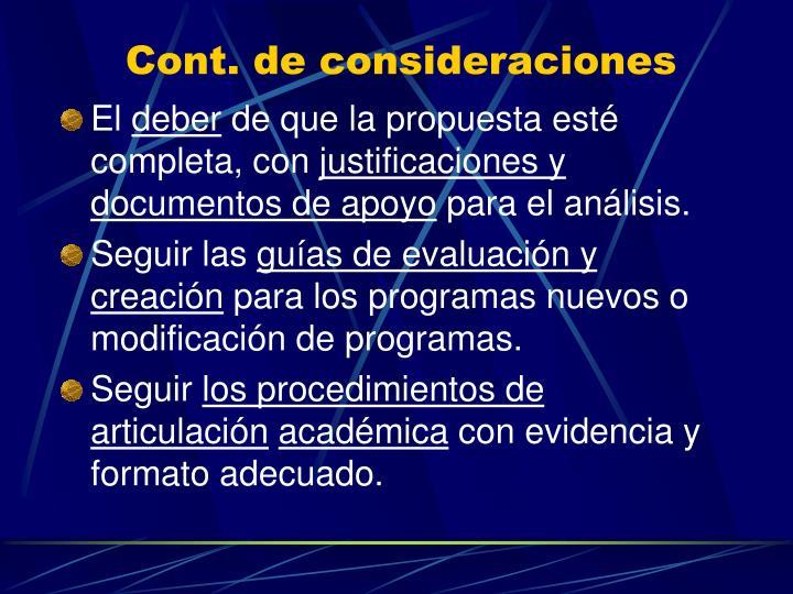 Cont. de consideraciones