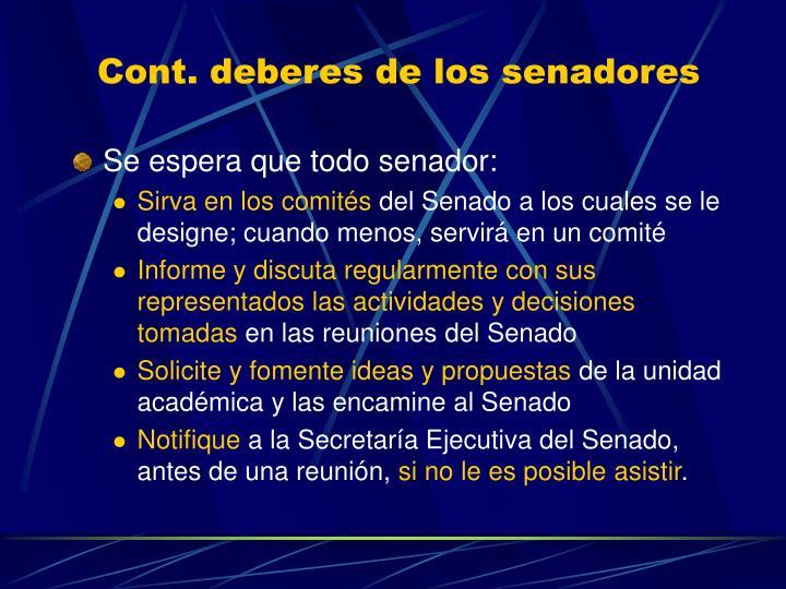 Cont. deberes de los senadores