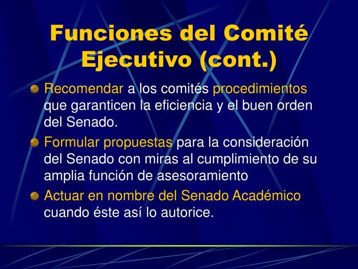 Funciones del Comité Ejecutivo (cont.)
