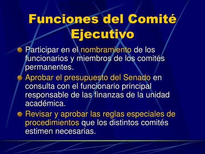 Funciones del Comité Ejecutivo