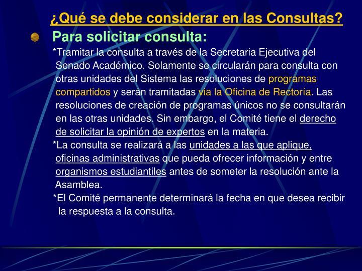 ¿Qué se debe considerar en las Consultas?