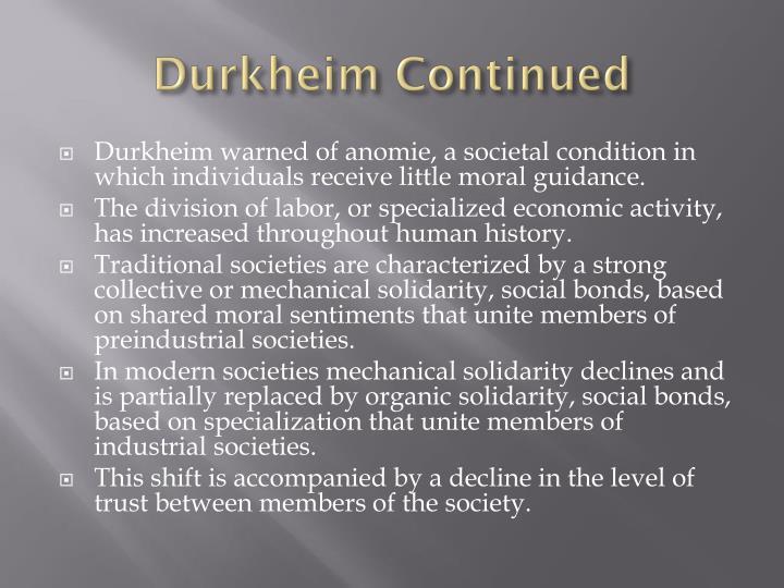 Durkheim Continued
