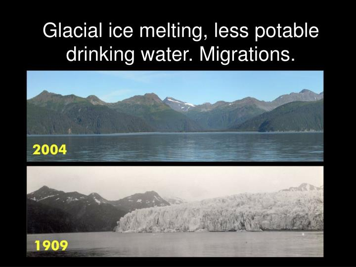 Glacial ice melting, less potable drinking water. Migrations.