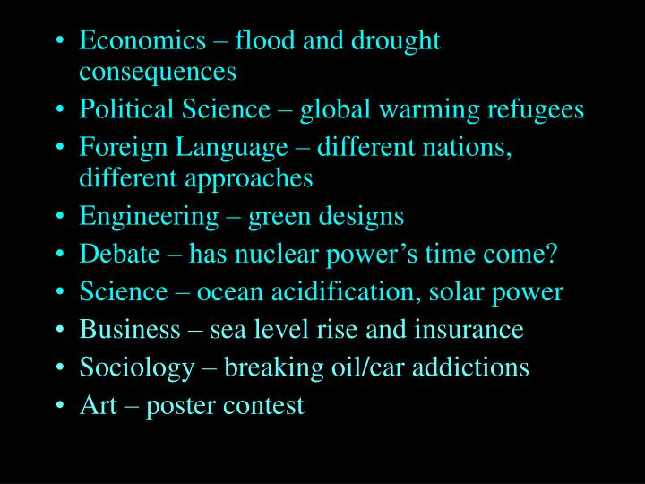 Economics – flood and drought consequences