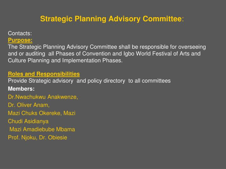Strategic Planning Advisory Committee