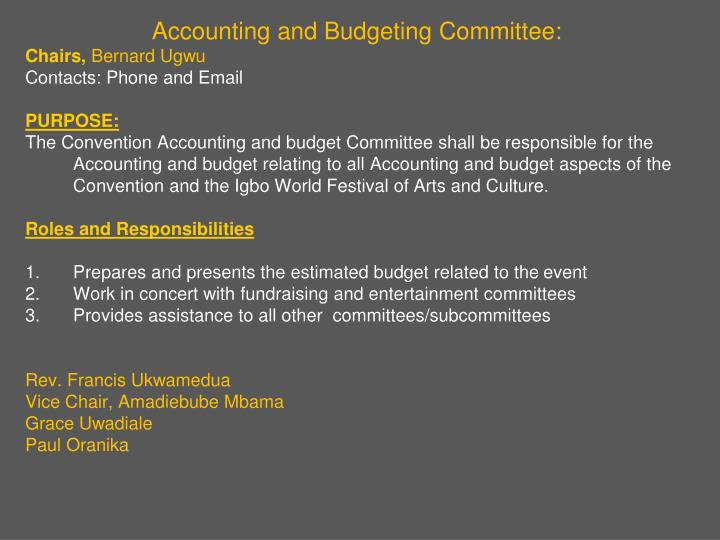 Accounting and Budgeting Committee: