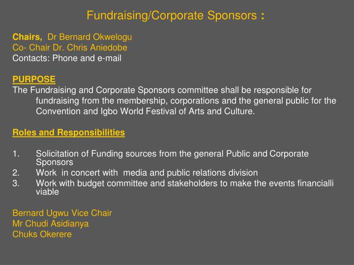 Fundraising/Corporate Sponsors